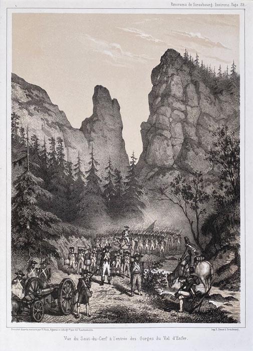 stara rycina panorama de strasbourg litografia