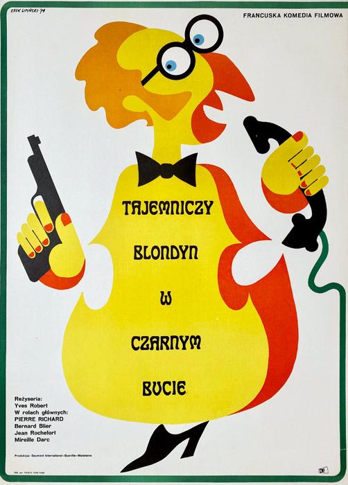 """plakat filmowy Eryk Lipiński """"Tajemniczy blondyn w czarnym bucie"""""""
