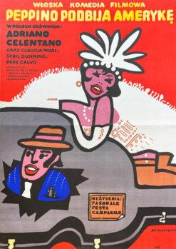 """plakat filmowy, Jan Młodożeniec, """"Peppino podbija Amerykę"""""""