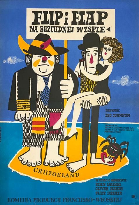 """Plakat filmowy """"Flip i Flap na bezludnej wyspie"""" Marian Stachurski"""