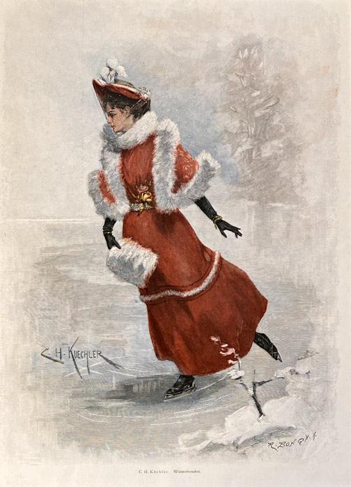 stara grafika, rycina kobieta na łyżwach