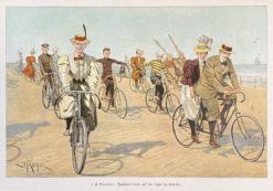 stara grafika rycina rajd rowerowy nad morzem