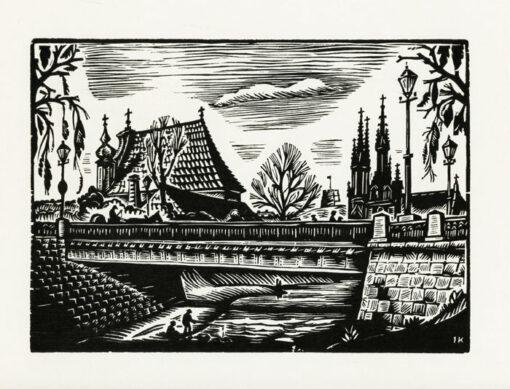 "Oryginalna grafika rycina ""Wilno - panorama z mostem"" Kuzminskis Jonas"