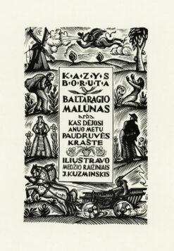 Oryginalna grafika rycina - strona tytułowa K. Boruty, Kuzminskis Jonas