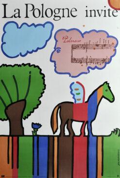 """Polska szkoła plakatu, plakat turystyczny """"Polska zaprasza, La Pologne invite"""", proj. Jan Młodożeniec, 1979"""