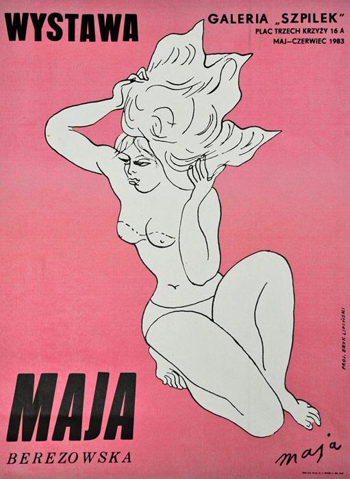 """polska szkoła plakatu, plakat wystawowy """"Maja Berezowska"""", Eryk Lipiński"""