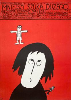 """polish school of poster, movie poster """"mniejszy szuka dużego"""" Bohdan Butenko"""