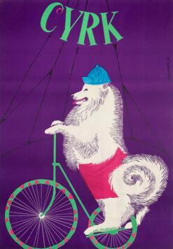 "polish school of poster, circus poster ""dog on bicycle"" Gustaw Majewski"