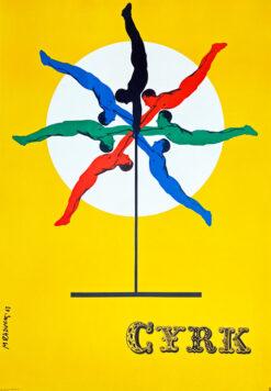 "vintage circus poster ""Akrobacje na drążku"", Maciej Raducki"