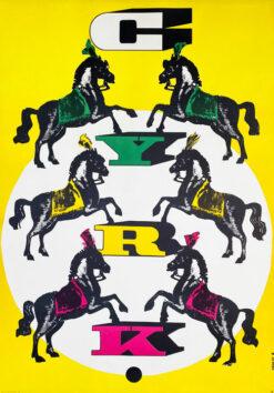 """vintage circus poster """"6 horses"""" Rosław Szaybo"""