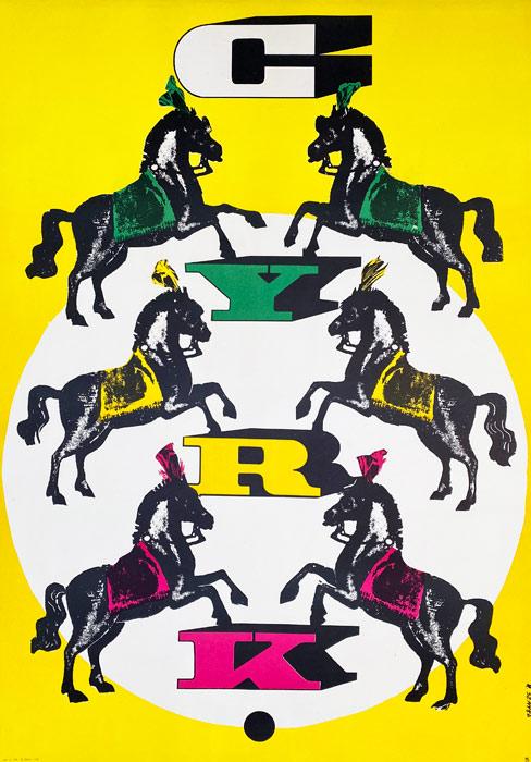 """plakat cyrkowy """"6 koni"""" Rosław Szaybo"""