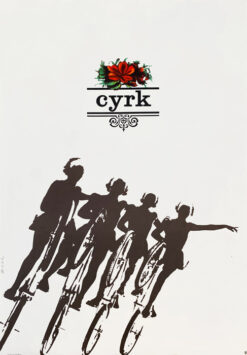 """polska szkoła plakatu, plakat cyrkowy""""Cyklistki"""", Bronisław Zelek"""