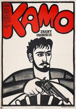 """Polska szkoła plakatu, plakat filmowy vintage PRL """"Kamo"""" Andrzej Krajewski"""