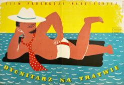 """Polish school of poster. movie poster """"Dygnitarz na tratwie"""", Eryk Lipiński"""