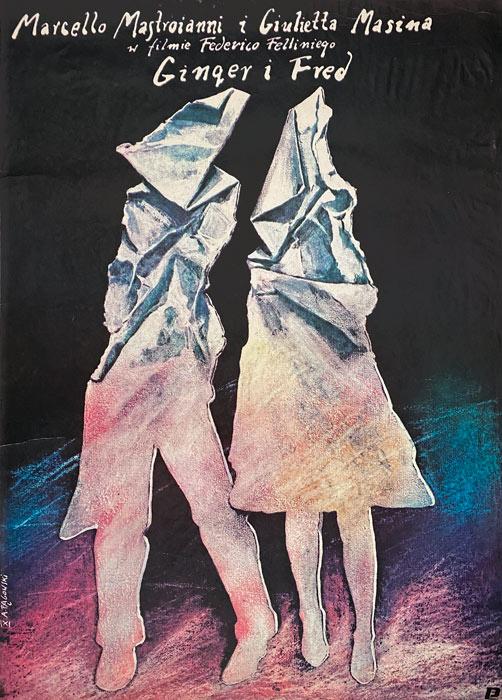 """polska szkoła plakatu, plakat filmowy """"Ginger i Fred"""" Andrzej Pągowski"""