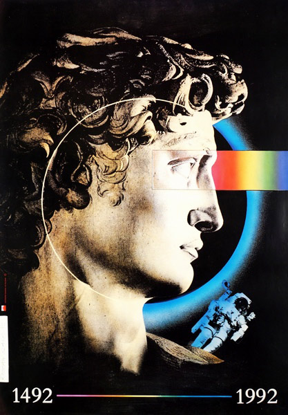 """polska szkoła plakatu, plakat wystawowy """"Expo Sevilla 1992, Rosław Szaybo"""