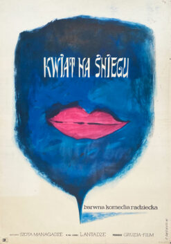 """Polska szkoła plakatu, plakat filmowy vintage PRL """"Kwiat na sniegu"""", Roman Cieślewicz, 1961"""