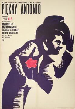 """Polska szkoła plakatu, plakat filmowy vintage PRL """"Piękny Antonio"""", A. Onegin-Dąbrowski, 1965"""