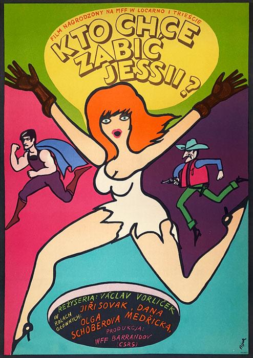 """Polska szkoła plakatu, plakat filmowy vintage PRL """"Kto chce zabić Jessii"""", proj. Jerzy Flisak, 1967"""