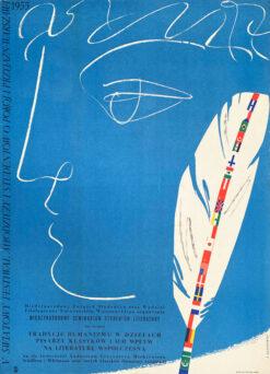 """Polska szkoła plakatu, plakat festowalowy vintage PRL """"Światowy Festiwal Studentów i Młodzieży"""" Jerzy Jaworowski, 1955"""