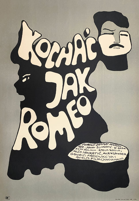 "Polska szkoła plakatu, plakat filmowy vintage PRL ""Kochać jak Romeo"", Jolanta Karczewska, 1968"