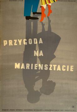 """Polska szkoła plakatu, plakat filmowy vintage PRL """"Przygoda na Mariensztacie"""", Eryk Lipiński, 1953."""
