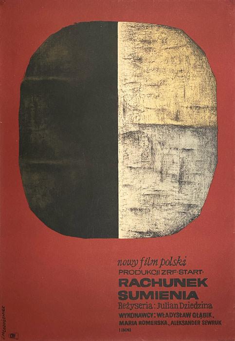 """Polska szkoła plakatu, plakat filmowy vintage PRL """"Rachunek sumienia"""" Jan Młodożeniec, 1964"""