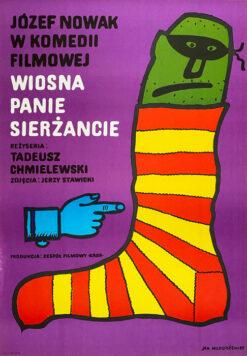 """Polska szkoła plakatu, plakat filmowy vintage PRL """"Wiosna panie sierżancie"""", Jan Młodożeniec, 1974"""