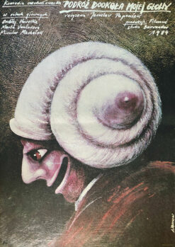 """polska szkoła plakatu, plakat filmowy vintage PRL """"Podróż dookoła mojej głowy"""", Andrzej Pągowski"""