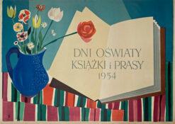 """Polska szkoła plakatu, plakat filmowy vintage PRL """"Dni oświaty, książki i prasy"""", Gabriel Rechowicz, 1954"""
