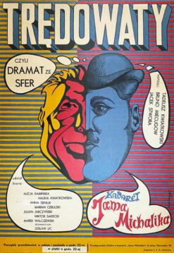 """Polska szkoła plakatu, plakat teatralny vintage PRL """"Trędowaty"""", Jerzy Skarzyński, 1967"""