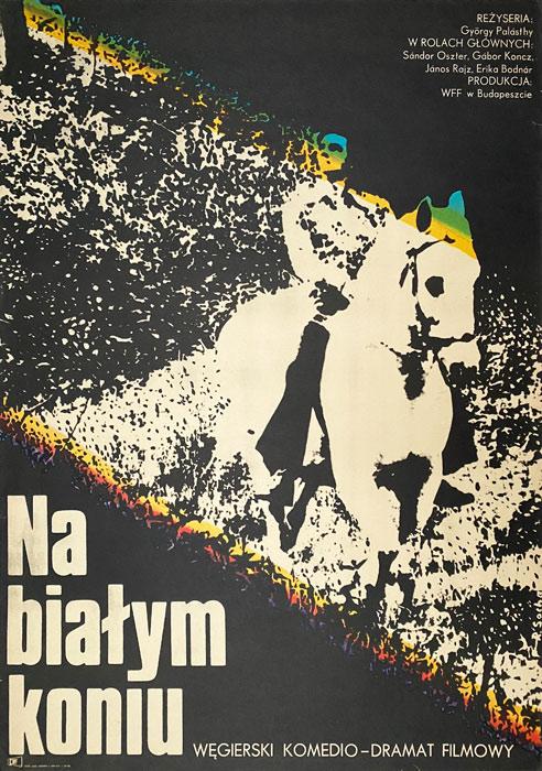 """Polska szkoła plakatu, plakat filmowy vintage PRL """"Na białym koniu"""", Romuald Socha, 1974"""