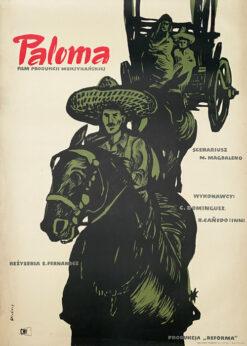 """Polska szkoła plakatu, plakat filmowy vintage PRL """"Paloma"""" Waldemar Świerzy, 1954"""