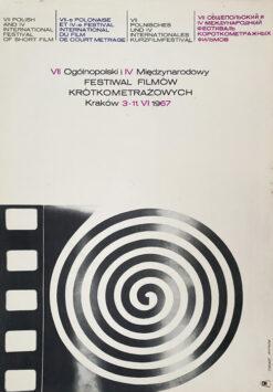 """Polish school of poster, Vintage movie poster PRL """"Festiwal Filmów Krótkometrażowych"""", Rosław Szaybo, 1967"""