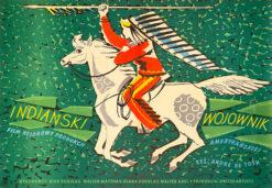 """Polska szkoła plakatu, plakat filmowy vintage PRL """"Indiański wojownik"""", proj. Adam Bowbelski, 1957"""