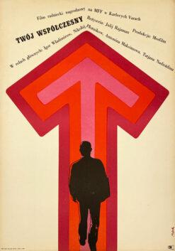 """Polska szkoła plakatu, plakat filmowy vintage PRL """"Twój współczesny"""" Jerzy Flisak, 1968"""