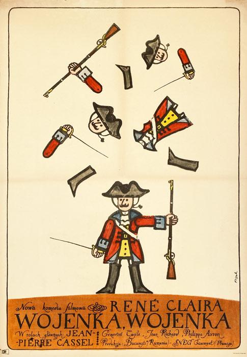 """Polska szkoła plakatu, plakat filmowy vintage PRL """"Wojenka, Wojenka"""", proj. Jerzy Flisak, 1967"""
