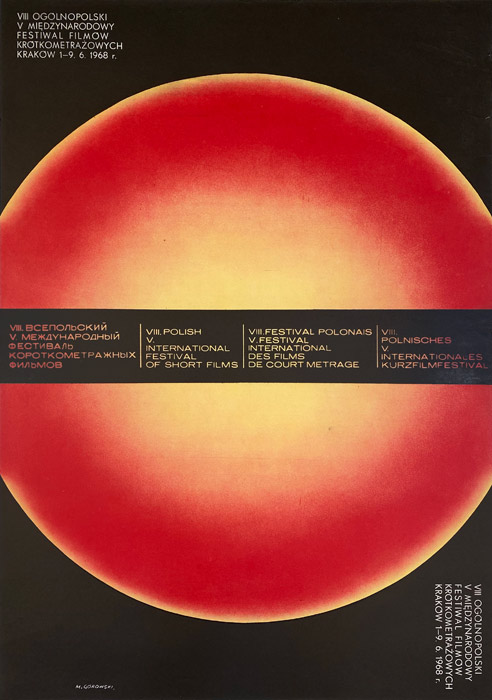 """Polska szkoła plakatu, plakat filmowy vintage PRL """"8 festiwal filmów krótkometrazowych w krakowie"""", Mieczysław Górowski, 1968"""