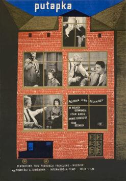 "Polish school of poster, Vintage movie poster PRL ""Pułapka"", proj. Andrzej Heidrich, 1959"