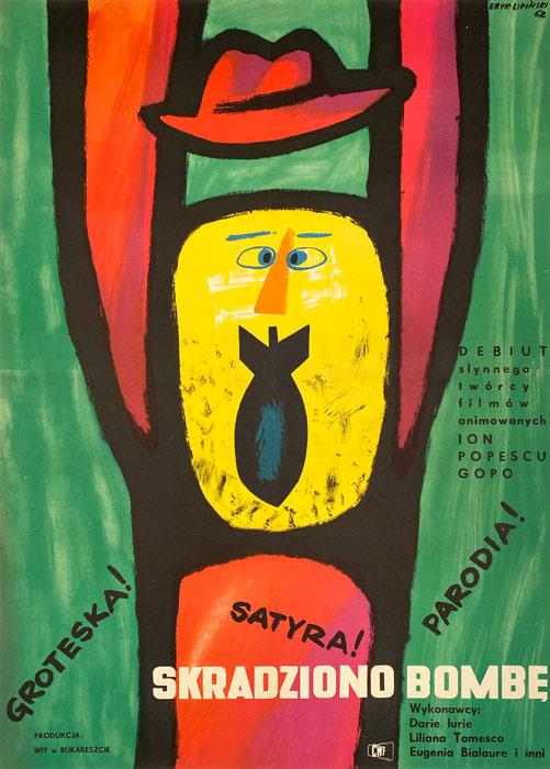 """Polska szkoła plakatu, plakat filmowy vintage PRL """"Skradziono bombę"""", proj. Eryk Lipiński, 1962"""