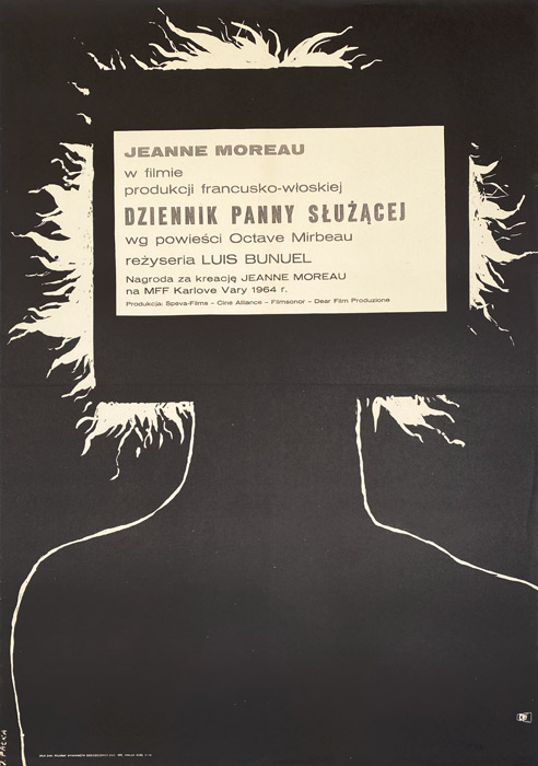 "Polska szkoła plakatu, plakat filmowy vintage PRL ""Dziennik panny służącej"", proj. Julian Pałka, 1965"