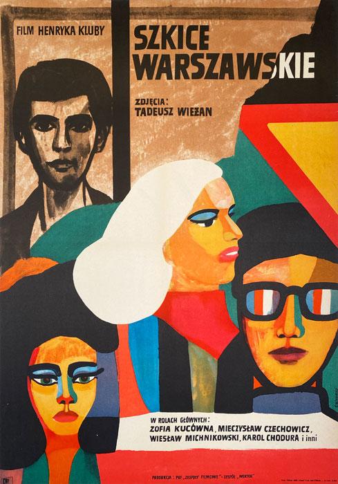 """Polska szkoła plakatu, plakat filmowy vintage PRL """"Szkice warszawskie"""", Marian Stachurski, 1969"""