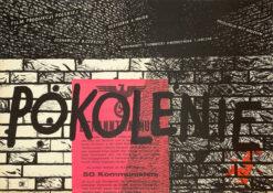 """Polska szkoła plakatu, plakat filmowy vintage PRL """"Pokolenie"""" Wojciech Zamecznik, 1954"""