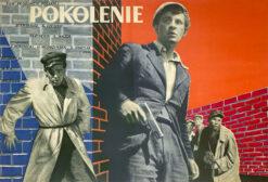 """Polska szkoła plakatu, plakat filmowy vintage PRL """"Pokolenie"""" Zygmunt Żurowski, 1954"""