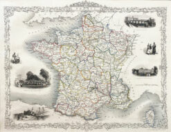 "Oryginalna grafika rycina ""Mapa Francji"", John Tallis, 1851"