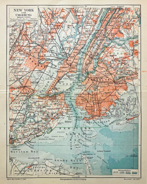 "Oryginalna stara grafika, rycina ""New York und Umgebung"", Meyers, ok. 1880"
