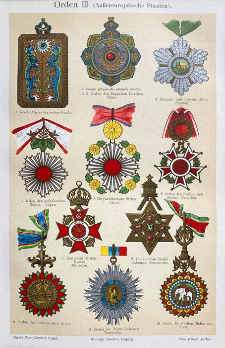 """Oryginalna stara grafika, rycina """"Herby pozaeuropejskie"""", Meyers, ok. 1880"""