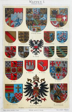 """Oryginalna stara grafika, rycina """"Herby niemieckie"""", Meyers, ok. 1880"""