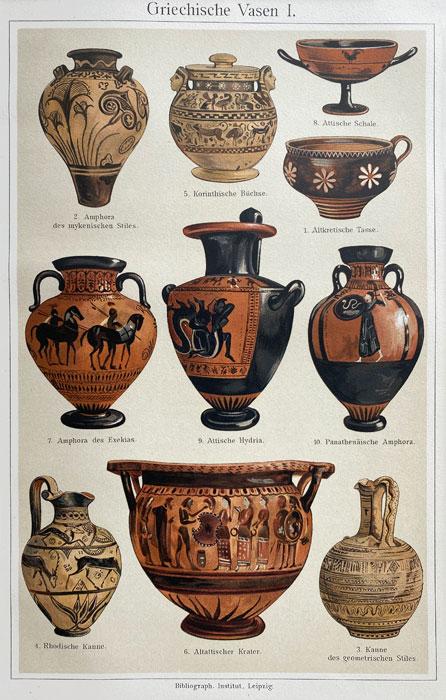 """Oryginalna stara grafika, rycina """"Wazy greckie"""", Meyers, ok. 1880"""