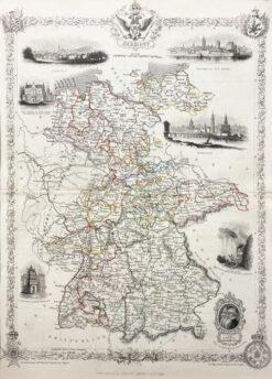 """Original print, engraving """"Mapa Niemiec"""", litografia, 1851"""